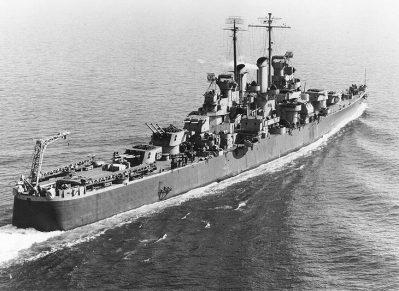 U.S. Navy light cruiser, USS Birmingham (CL-62), in the Hampton Roads area, Virginia, on Feb. 20, 1943. (U.S. Naval Historical Center, Wikipedia)