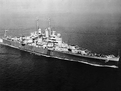 The USS Birmingham (CL-62) was a light cruiser commissioned by the U.S. Navy in 1943 and named for the largest city in Alabama. The ship was used during World War II in the Mediterranean and the Pacific theater of operations. (From Encyclopedia of Alabama, U.S. Naval Historical Center)