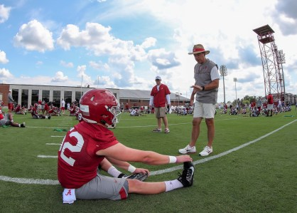 As usual, Nick Saban is challenging his players to step up. And up. And up. (Kent Gidley/University of Alabama Athletics)