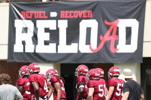 The Crimson Tide practices hard for another year of football. (Kent Gidley/University of Alabama Athletics)