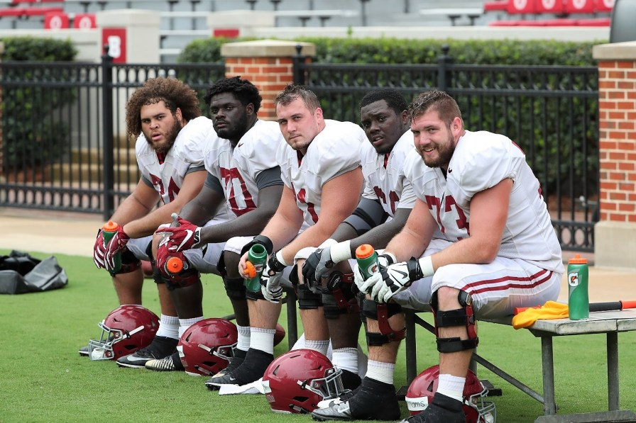 No matter who starts at quarterback for Alabama, you'll have to go through these guys to get to him. (Kent Gidley/University of Alabama Athletics)