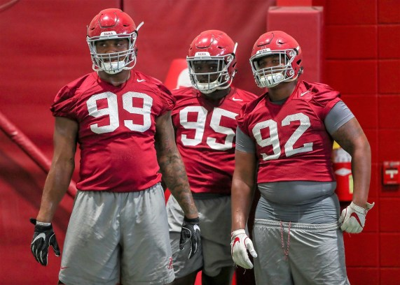 Defensive linemen Raekwon Davis (99), Johnny Dwight (95) and Quinnen Williams (92). (Kent Gidley/University of Alabama Athletics)