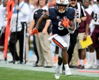 Auburn running back Kam Martin (9) runs for a touchdown. Martin is likely to be Auburn's No. 1 go-to running back to start the 2018 season. (Todd Van Emst/AU Athletics)