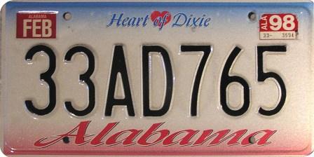 Alabama license plate, 1998. (Marduk, Wikipedia)