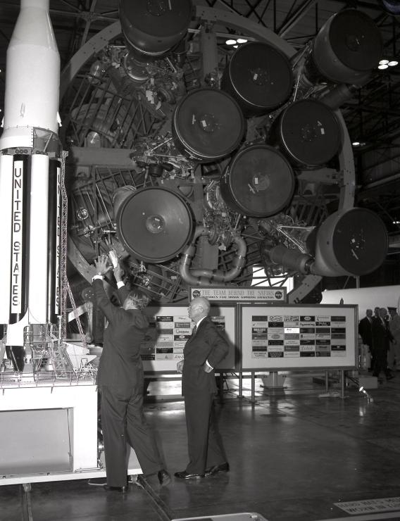 Dr. Wernher von Braun briefs President Eisenhower at the front of the S1 Stage (first Stage) of the Saturn 1 vehicle at the Marshall Space Flight Center on Sept. 8, 1960. (NASA)