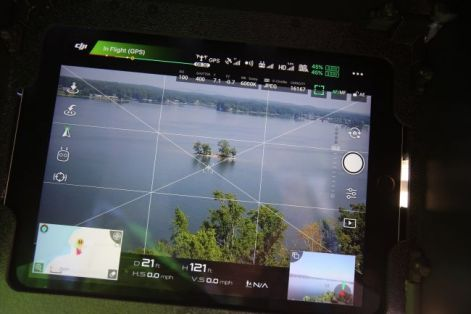 The screen captures the drone's location as it flies above Logan Martin Lake. (Meg McKinney/Alabama NewsCenter)