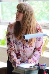 Math teacher Elaina Perrymon shows a few slides in her math class. (Karim Shamsi-Basha / Alabama NewsCenter)