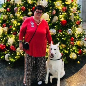 Kelly and Eriwen enjoying the Christmas lights at her workplace. (Kelly Buchanan)