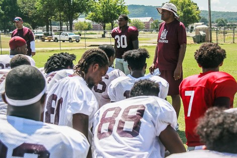 New Alabama A&M Head Coach Connell Maynor talks to his players at a preseason practice. (Alabama A&M Athletics)