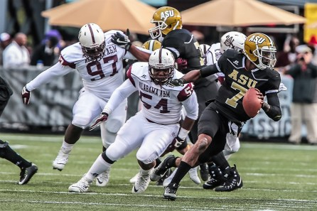 Defensive lineman Verlon Moland (54) is one of Alabama A&M's two preseason all-conference first-team players this year. (Alabama A&M Athletics)