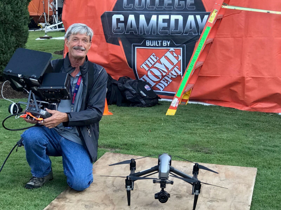 Smith's drone on the job at GameDay. (Dave Smith)