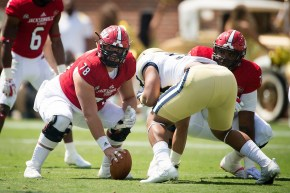 Tyler Scozzaro (78) during last year's JSU game with Georgia Tech. (Jacksonville State University Athletics)