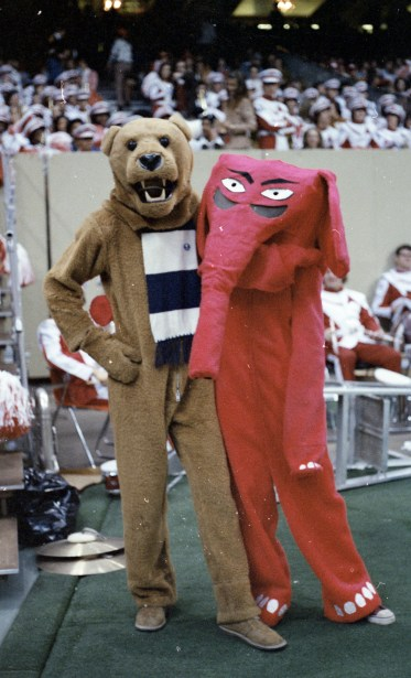 An early attempt at a red elephant costume would later be replaced by the Disney-designed Big Al costume still seen today. (Paul W. Bryant Museum / The University of Alabama)