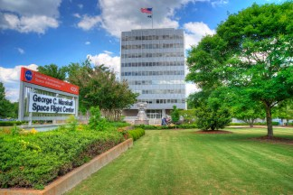 The Marshall Space Flight Center — named for George C. Marshall, the U.S. Army's World War II chief of staff and the creator of the Marshall Plan — is the heart of the U.S. space program. Located in Huntsville, the center, along with Redstone Arsenal, has transformed the area into a high-density job center for engineers and physicists. (From Encyclopedia of Alabama, courtesy of the National Aeronautics and Space Administration)