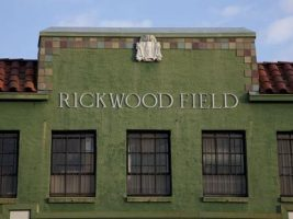The entrance to Birmingham's historic Rickwood Field, which was built in 1909. Today, the baseball park hosts municipal and recreational leagues. (From Encyclopedia of Alabama, courtesy of The George F. Landegger Collection of Alabama Photographs in Carol M. Highsmith's America, Library of Congress, Prints and Photographs Division)