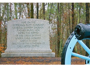 A monument at Horseshoe Bend National Military Park in Tallapoosa County tells the story Gen. Andrew Jackson's defeat of the Red Stick Creeks during the last battle of the Creek War of 1813-14. (From Encyclopedia of Alabama, Alabama Tourism Department)