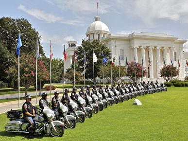 Alabama State Troopers pose with their motorcycles on the lawn of the Alabama Capitol in Montgomery in 2010. (From Encyclopedia of Alabama, courtesy of the Alabama Department of Public Safety)