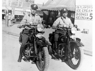 Alabama public safety officers pose astride their motorcycles in Montgomery, 1936. (From Encyclopedia of Alabama, courtesy of the Alabama Department of Public Safety)