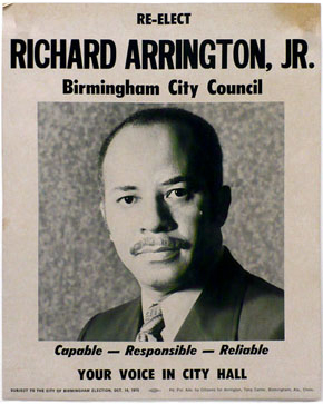 A campaign poster for Richard Arrington's 1975 re-election run for a seat on the Birmingham City Council. (From Encyclopedia of Alabama, courtesy of John Morse)