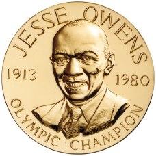 Bronze duplicate of Jesse Owens' Congressional Gold Medal. (U.S. Mint, Wikipedia)