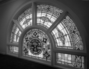 Stained-glass window at the Sixteenth Street Baptist Church. (Historic American Buildings Survey, Library of Congress, Prints and Photographs Division)
