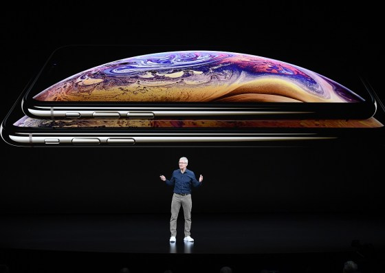 Tim Cook, chief executive officer of Apple Inc., talks about the company's new products on Wednesday at the Steve Jobs Theater in Cupertino, California. (David Paul Morris/Bloomberg)
