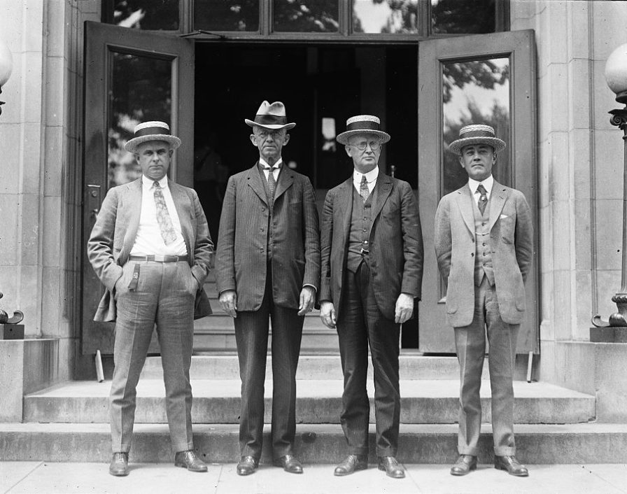 Coal operators in conference with President Hoover: (left to right) S.L. Yerkes, Frank Nelson, Erskine Ramsay and J.A. Norman. (Harris & Ewing, Library of Congress, Prints and Photographs Division)