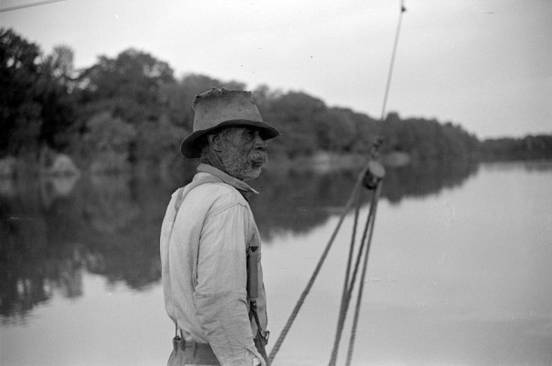 Unidentified man, almost 80, who has been running a ferry across river from Camden to Gee's Bend for almost 48 years, 1939. (Photograph by Marion Post Wolcott, Library of Congress, Prints and Photographs Division)