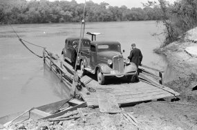 Project manager's truck coming across on ferry from Camden to Gees Bend, 1939. (Photograph by Marion Post Wolcott, Library of Congress, Prints and Photographs Division)