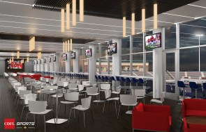 A rendering shows the club room in the planned University of South Alabama on-campus football stadium. (CDFL Sports Architects + Engineers)