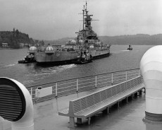 Ex-USS Alabama (BB-60) is towed into Puget Sound on the start of the last voyage to Mobile, where it will serve as a museum ship, June 18, 1964. (Naval History and Heritage Command)