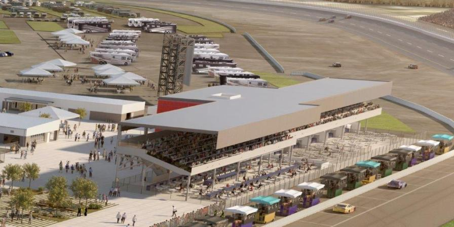 A rendering depicts the Paddock Club in Talladega Superspeedway's Transformation project. (Talladega Superspeedway)