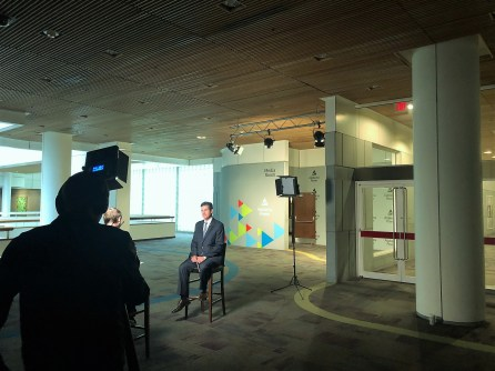 Alabama Power's Patrick Murhpy is interviewed as a finalist for the Kanthal Award. (Katie Bolton / Alabama NewsCenter)