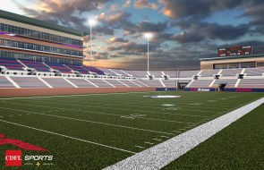 A rendering shows the planned University of South Alabama on-campus football stadium, viewed from the southeast corner of the field. (CDFL Sports Architects + Engineers)