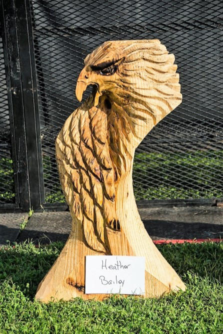 Heather Bailey, of Woodlot Artisans in Calera, created this eagle during the live chainsaw carving exhibition at Tinglewood Festival. (Fotowerks Custom Photography)