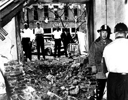 The Sixteenth Street Baptist Church in Birmingham was bombed by the Ku Klux Klan on Sept. 15, 1963, killing four African-American girls. The tragedy incited local riots and national outrage and was a central moment leading to the Civil Rights Act of 1964. (From Encyclopedia of Alabama, Birmingham Public Library Archives)