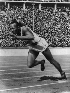 Jesse Owens shocked the world in the 1936 Olympics in Berlin when he won gold medals in the long jump, the 100-meter and 200-meter dashes, and the 4x100-meter relay. His achievement was a direct repudiation of the white supremacist views of Germany's ruling Nazi Party. (From Encyclopedia of Alabama, courtesy of Library of Congress)