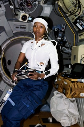 Astronaut Mae C. Jemison, science mission specialist, is pictured in the Spacelab-J Science Module wearing a headband and other monitoring gear for physiological evaluation aboard the space shuttle Endeavour in 1992. Jemison, born in Decatur, Morgan County, was the first African-American woman in space. (From Encyclopedia of Alabama, photo courtesy of the National Aeronautics and Space Administration)