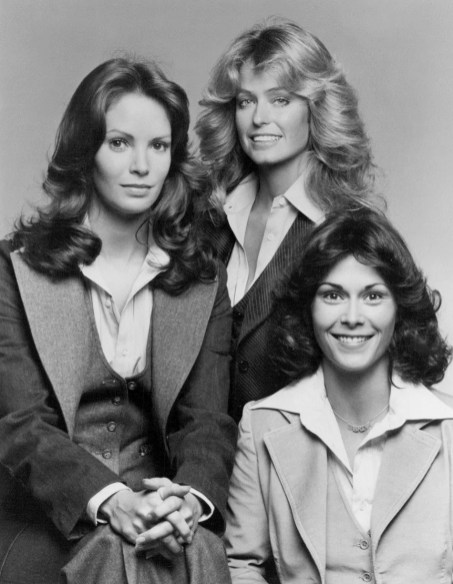 "Publicity photo of the cast of the television program ""Charlie's Angels."" From left: Jaclyn Smith, Farrah Fawcett-Majors and Kate Jackson, Dec. 21, 1976. (ABC Television, Wikipedia)"