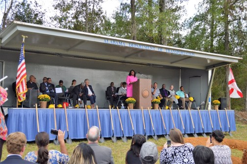 U.S. Rep. Terri Sewell speaks at the groundbreaking of the Love's Travel Stop and Country Store in Eutaw. (Anna Catherine Roberson / Alabama NewsCenter)