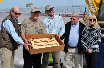 Grant Lynch, chairman of Talladega Superspeedway, celebrated his 65th birthday today by breaking ground on the $50 million Transformation project at the historic racetrack. (Michael Tomberlin / Alabama NewsCenter)