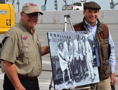 Talladega Superspeedway Chairman Grant Lynch, left, poses with Dell Hill, who was at the original groundbreaking of the Talladega Superspeedway 50 years ago. (Michael Tomberlin / Alabama NewsCenter)