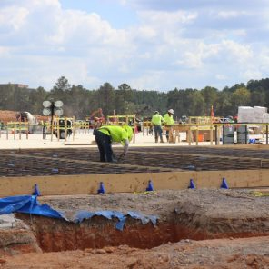 Construction proceeds at the site of the Amazon fulfillment center in Bessemer. (Dennis Washington/Alabama NewsCenter)