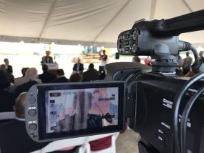 Corporate, community and state leaders unite for the announcement and groundbreaking in Bessemer. Gov. Kay Ivey speaks at the groundbreaking. (Dennis Washington)