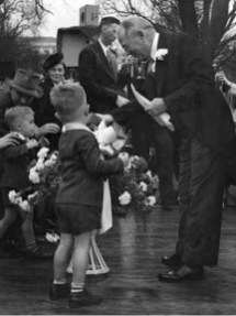 Newly elected Gov. Chauncey Sparks greets supporters during his inauguration in Montgomery on Jan. 19, 1943. (From Encyclopedia of Alabama, courtesy of Alabama Department of Archives and History)