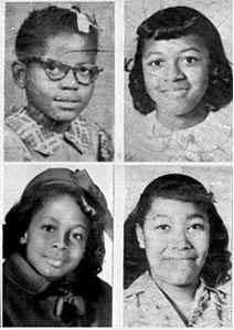 The four girls killed during the 16th Street Baptist Church bombing. Clockwise from top left: Addie Mae Collins (age 14), Cynthia Wesley (age 14), Carole Robertson (age 14) and Denise McNair (age 11). (Wikipedia)