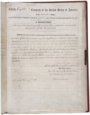 Thirteenth Amendment of the United States Constitution, bearing the signature of Abraham Lincoln. (National Archives and Records Administration; Wikipedia)