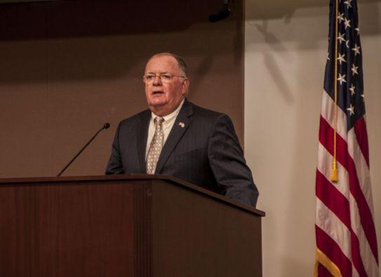 U.S. Army Brig. Gen. McLain spoke. (Billy Brown/Alabama NewsCenter)