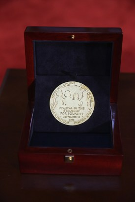 The Congressional Gold Medal that honors the four young girls who were killed in the 16th Street Baptist Church bombing is shown on display at the U.S. Capitol Sept. 10, 2013 in Washington, DC. Denise McNair, Addie Mae Collins, Carole Robertson and Cynthia Wesley were killed Sept. 15, 1963 when members of the Ku Klux Klan bombed the Sixteenth Street Baptist Church in Birmingham. The medal honors the girls' sacrifice and how it served as a catalyst for the civil rights movement. (Photo by Chip Somodevilla/Getty Images)