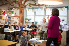 Heather Hurt in her fifth-grade classroom at Vestavia Hills Elementary East -- the same classroom where she spent her own fifth-grade year. (Samford University)